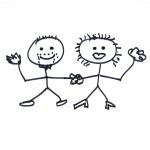 portrait of Stan & Ann Rosier. Stick figure draawing by steve rossman
