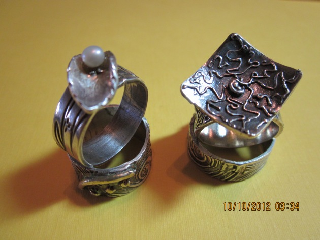 Fine silver rings made with Art Clay silver.