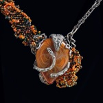Stan Rosier - Silver, glass and seed bead necklace. Glass cabochon by Gregory Hanson